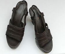 "NEXT CHOCOLATE BROWN 3.5"" PLATFORM SLIP-ON Sandals WEDGE Shoes UK 4 Eur 36 5 38"