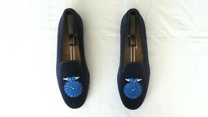 """RARE! Men's $525 Stubbs & Wootton Blue Velvet """"CLEAT"""" Loafers Slippers Shoes 10"""