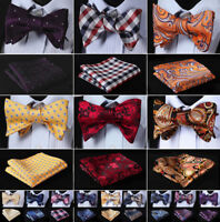 Hisdern Mens Red Bow Tie Paisley Plaid Woven Silk Self BowTie Handkerchief SetG8