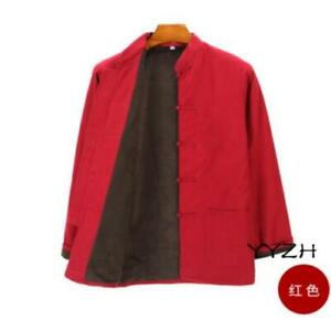 Winter Men's Vintage Padded Jackets Chinese style Brushed Lined Shirts Tops Coat