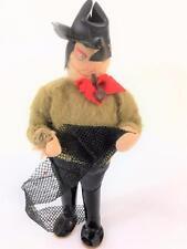 "Artist Handmade Doll Fisherman Pipe Handpainted Cloth Face Net Dollhouse 6"" Vtg"