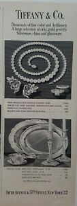 1947 Tiffany & Co pearl necklace diamond ruby jewelry sterling silver vintage ad