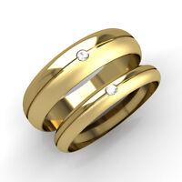 Matching Wedding Rings His and Hers Diamond Set D Bands Yellow Gold Half Matt