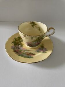"""ANSLEY 2044, """"Bluebell Time"""". Yellow colourway, gilt trim Tea Cup and Saucer Set"""