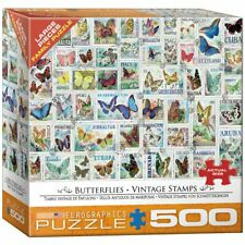 EuroGraphics Butterflies Vintage Stamps Jigsaw Puzzle (500-Piece)