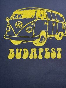 VW Bus Budapest Tee Shirt - Vintage Brown with Yellow Volkswagen Bus UNIQUE