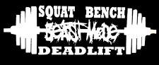 """Squat Bench Deadlift """"BEAST MODE"""" gym theme Workout Vinyl Decal Sticker"""