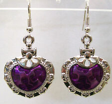 NEW!! STYLISH  PURPLE ENAMEL WHITE GOLD PLATED METAL EARRINGS....4.7cms