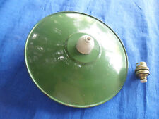 ANCIEN ABAT JOUR SUSPENSION USINE  EN TÔLE EMAILLEE vert , monte et baisse