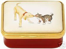 Halcyon Days Dog and Cat Best Friends Enamel Pill Box