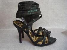 5874c1f06786 NEXT UK 7 RUNWAY COLLECTION BLACK ZIPPED HIGH ANKLE STRAPPY SANDALS