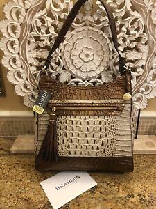 BRAHMIN 100% Authentic REBECCA Moonlight Tr-Color Leather Shoulder Bag NWT $345