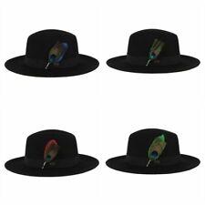 Black Band Wool Felt Unisex Fedora Hat Autumn Cowboy Feather Fashion Jazz Cap