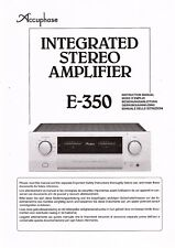 Accuphase Manuel d'Utilisation User Manual Owners Manual pour e-350