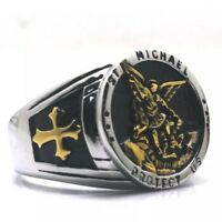 Saint St Michael Protect Us Ring Gold Silver Medal Seal Signet Cross Christian