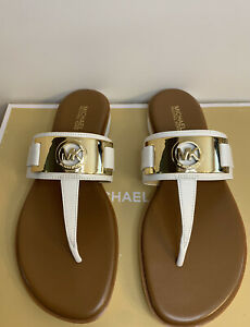 New - Women's Michael Kors Briar Optic White Leather Thong Sandals Size 8