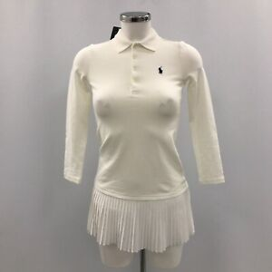 NWT Polo Ralph Lauren Dress UK 8 - 10 White Casual Occasion Cotton 022682