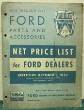 1928-1958 Ford Parts & Accessories Net Price List for Ford Dealers