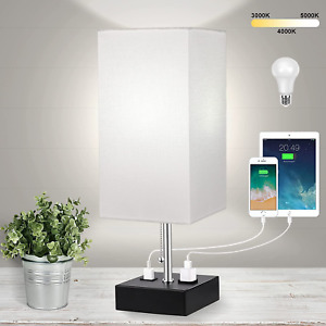 3-Color Temperature Table Lamps for Bedroom Lamp Bedside Lamp with USB Port and