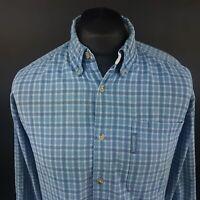 Columbia Mens Vintage Outdoor Shirt MEDIUM Long Sleeve Blue Regular Fit Check