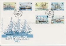Unaddressed Isle of Man FDC First Day Cover 1993 Ships Definitives 1p-21p