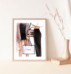 Wall print - coco chanel quote shopping women fashion poster luxury handbag