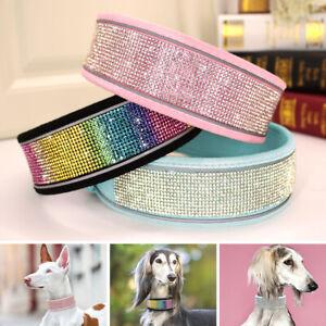 Thick Rhinestone Dog Collar Soft Wide Crystal Diamond Necklace Reflective Design