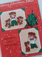 Vtg CHRISTMAS DAD Preacher Judge Banker Spanker Teacher Multi Pg GREETING CARD