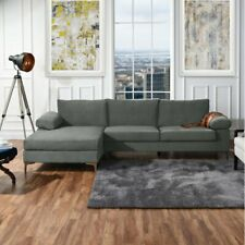 Large Grey Velvet Sectional Sofa, L-Shape Couch Wide Left Facing Chaise