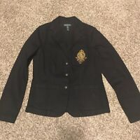 Lauren Ralph Lauren Womens M Cotton Blend Navy Blue Blazer 3 Button A16