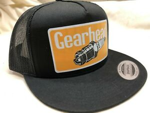 Gearhead Spark Plug Snapback Cap Mesh Trucker Hat Lowbrow Hot Rods Punk Rock