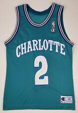 Vintage 90s Charlotte Hornets Larry Johnson 2 NBA Champion Jersey Size 40 - NC