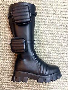 New women combat platform boot biker rockstar pockets
