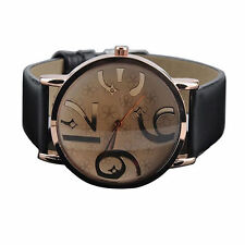Womens Fashion Sanwood Quartz Beige Face And Black Band Wrist Watch