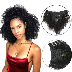 "8"" 8pc Mongolian Afro Curly Hair Wefts Clip in Kinky Curly Virgin Hair Extension"