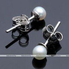 Pair 3-4mm 925 Sterling Silver Natural Freshwater Pearl Bead Ear Stud Earrings