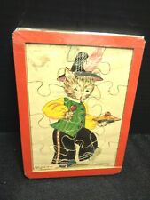 Vintage Litho Picture Nursery Rhyme Little Jack Horner Collectible Cat Puzzle