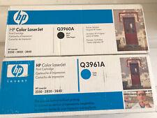 2-New Genuine HP Color LaserJet (Q3960A) &(Q3961A)2550 2820 2840 Printer Toner