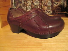 Womens DANSKO Dk Brown Leather Upper Career Slide Ons Wedges Shoes Sz 38 (7.5-8)