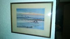 1940 BEAN GEESE ON THE SALTING BY P SCOTT VINTAGE ART FRAMED PRINT COLLECTIBLE