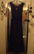 Dark Royal Blue Sleeveless Formal Sparkle Princess Full-Length S M Evening Gown