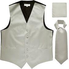 New Men's Solid Tuxedo Vest Waistcoat & Ascot Cravat Set Silver Wedding