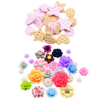 70pcs Assorted Resin Flower Cookies Flatback Cabochons Phone Case DIY Decor