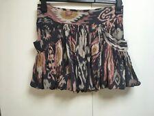 All Saints Alba mini skirt silk ikat print grey pink 10
