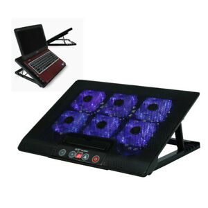 "LAPTOP COOLER STAND WITH 6 FAN & TILT FOR 15 17"" INCH BUTTON CONTROL COOLING PAD"