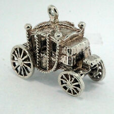 Sterling Silver Cinderella Princess Carriage Charm (Approx 22x15mm)
