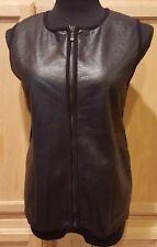 Jones New York Faux Leather Fleece Lined Ribbed Back Zip Front Vest, M - $129