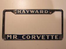 RARE Hayward Mr. Corvette Dealership Metal License Plate Frame Tag CA Chevrolet