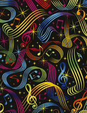 Timeless Treasures Bright Music Notes on Black 100% cotton fabric by the yard