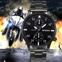 2017 Luxury Fashion Men's Crystal Stainless Steel Analog Quartz Wrist Watches